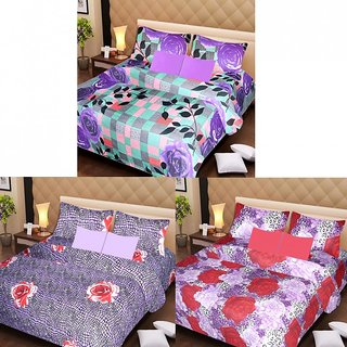 AKASH GANGA MULTI COLOUR  3 COTTON BEDSHEET S WITH 6 PILLOW COVERS (AG1202)