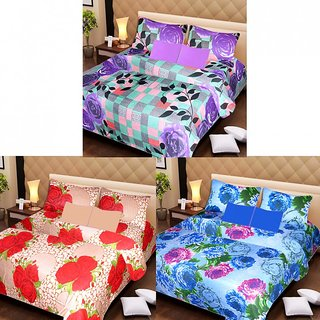 AKASH GANGA MULTI COLOUR  3 COTTON BEDSHEET S WITH 6 PILLOW COVERS (AG1205)
