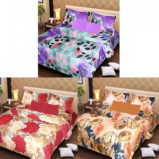 AKASH GANGA MULTI COLOUR  3 COTTON BEDSHEET S WITH 6 PILLOW COVERS (AG1206)
