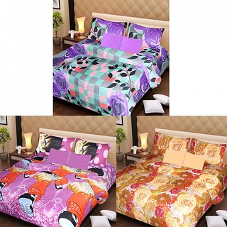 AKASH GANGA MULTI COLOUR  3 COTTON BEDSHEET S WITH 6 PILLOW COVERS (AG1207)