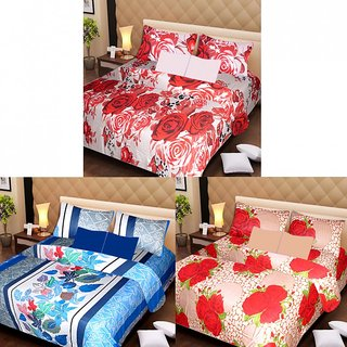 AKASH GANGA MULTI COLOUR  3 COTTON BEDSHEET S WITH 6 PILLOW COVERS (AG1211)