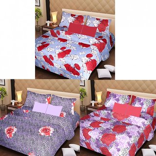AKASH GANGA MULTI COLOUR  3 COTTON BEDSHEET S WITH 6 PILLOW COVERS (AG1212)