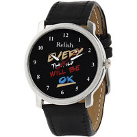 Relish Round Dial Black Leather Strap Mens Watch