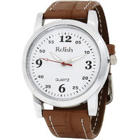 Relish Round Dial Brown Leather Strap Mens Watch