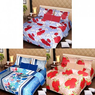 AKASH GANGA MULTI COLOUR  3 COTTON BEDSHEET S WITH 6 PILLOW COVERS (AG1214)