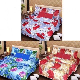 AKASH GANGA MULTI COLOUR  3 COTTON BEDSHEET S WITH 6 PILLOW COVERS (AG1215)