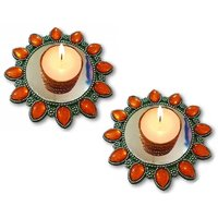 Unique Arts Set Of 2 Floating Kundan Diya Candle Holder In Metal Look For Diwali