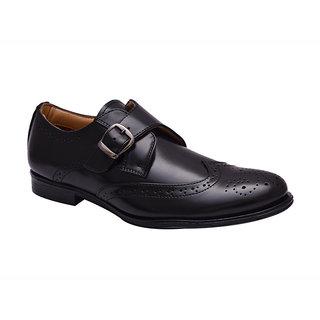 Hirels Black Monk Strap Brogue Shoes