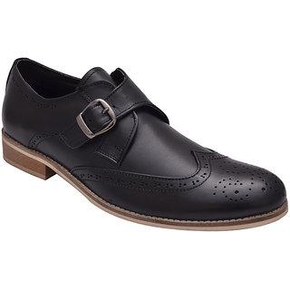 Hirels Black Leather Monk Strap Brogue Shoes