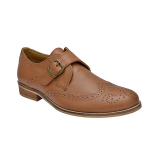 Hirels Tan Monk Strap Brogue Shoes