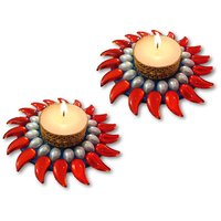 Unique Arts Set Of 2 Beautiful Floating Kundan Diya Candle Red-blue For Diwali
