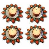 Unique Arts Set Of 4 Floating Kundan Diya Candle Holder In Metal Look For Diwali