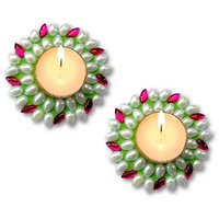 Unique Arts Set Of 2 Floating Kundan Diya Candle Green-pink For Diwali