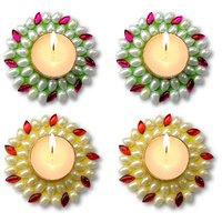 Unique Arts Set Of 4 Floating Kundan Diya Candle Green-pink-yellow-red 4 Diwali