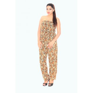 Foxy Tiger Print Crepe Jump Suit Long
