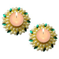 Unique Arts Set Of 2 Floating Kundan Diya Candle Yellowgreenfor Diwali