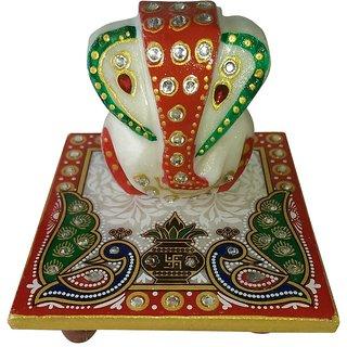 Marwal Marble Ganesh Chowki With Ganesh Idol