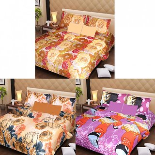 Akash Ganga Multi-Colour 3 Cotton Bedsheets with 6 Pillow Covers (AG1192)