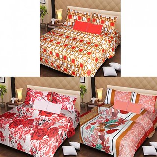 Akash Ganga Beautiful Combo of 3 Double Bedsheets with 6 Pillow Covers (AG1194)
