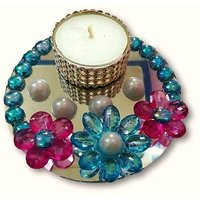 Unique Arts Beautiful Round T-Light Candle With Pink Flowers And Glass Base
