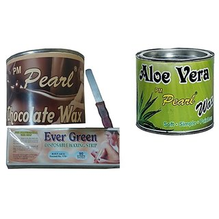 Choclate and Aloe vera wax with 90 Wax Strips Pack FREE Knife