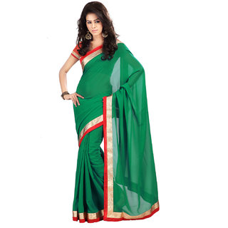 Rangoli Awesome Georgette Green Embroidered Saree FL-1014