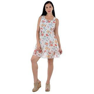 White With Red Floral Printed Short Dress