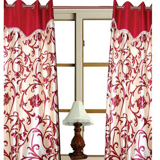 Akash Ganga Multicolored Floral Polyester Door Curtain Set of Two (CUR001-2)