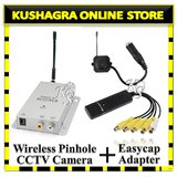 WIRELESS CCTV PINHOLE COLOUR CAMERA Kit WITH Easycap Capture 4 Ch. USB Adapter