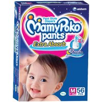 Mamy Poko Extra Absorb Pant Style Diaper Medium For 9-12 Months 12-18 Months - 56 Pieces