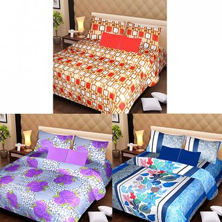 Akash Ganga Beautiful Combo of 3 Double Bedsheets with 6 Pillow Covers (AG1197)