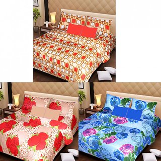 Akash Ganga Beautiful Combo of 3 Double Bedsheets with 6 Pillow Covers (AG1198)