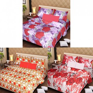 Akash Ganga Beautiful Combo of 3 Double Bedsheets with 6 Pillow Covers (AG1222)