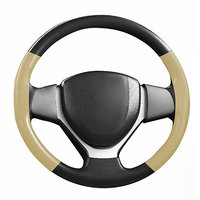 Speedwav Black  Beige Stitchable Car Steering Cover S-Hyundai Santro Xing - (88522)