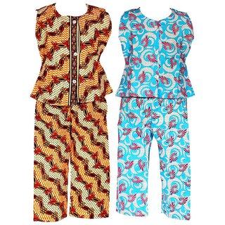 Wajbee Foxy Girls Cotton Night Suit Set of 2