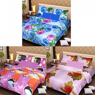 Akash Ganga Beautiful Combo of 3 Double Bedsheets with 6 Pillow Covers (AG1232)