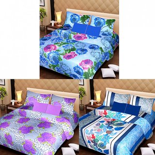 Akash Ganga Beautiful Combo of 3 Double Bedsheets with 6 Pillow Covers (AG1233)