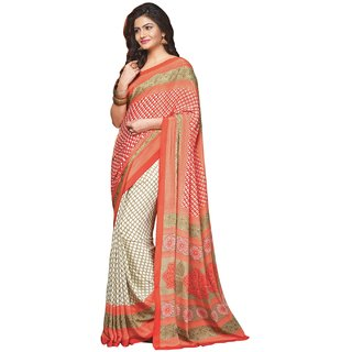 Aagaman Classy Orange Colored Printed Crape Saree