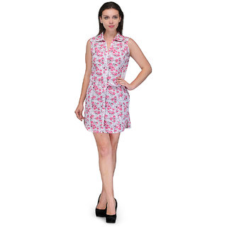 Crease Clips Floral Printed Collar Neck Dress Cum Tunic Drs1020WhitePink