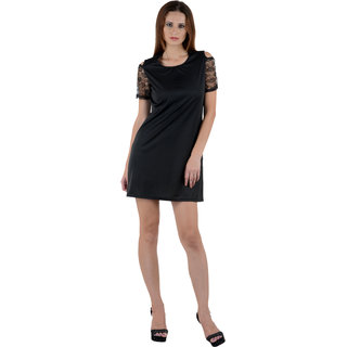Crease Clips Cut Shoulder Net Sleeves Solid Dress Cum Tunic Drs1033-Blk