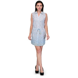 Crease Clips Polka Printed Collar Neck Dress Cum Tunic Drs1021 White Skyblue