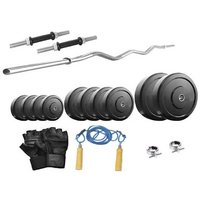 Protoner Weight Lifting Package 32 Kg Weight + 3 Rods + Gloves