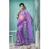 Aarya Regal Purple Embroidered Net Saree With Unstitched Blouse