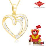 Sparkles Gold And Diamond Heart Shaped Pendant With Gold Plated Silver Chain P10050