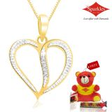 Sparkles Gold And Diamond Heart Shaped Pendant With Gold Plated Silver Chain P10052