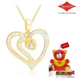 Sparkles Gold And Diamond Heart Shaped Pendant With Gold Plated Silver Chain P10054