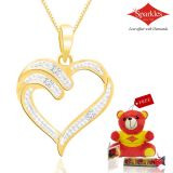 Sparkles Gold And Diamond Heart Shaped Pendant With Gold Plated Silver Chain P10057