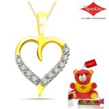 Sparkles Gold And Diamond Heart Shaped Pendant With Gold Plated Silver Chain P7762