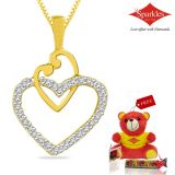 Sparkles Gold And Diamond Heart Shaped Pendant With Gold Plated Silver Chain Pxp8338