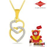 Sparkles Gold And Diamond Heart Shaped Pendant With Gold Plated Silver Chain Pxp8349